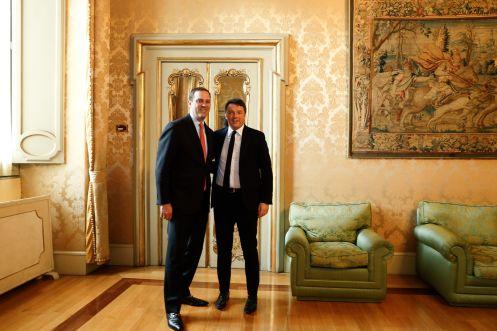 L'incontro tra il Primo Ministro Matteo Renzi e il Ceo di Cisco, Chuck Robbins