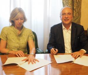 Agostino Santoni Cisco e il Ministro dell'Istruzione Stefania Giannini