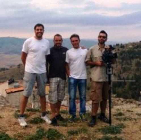 Il team di heli-lab: Giuseppe Spallina e Antonio Raspanti (co-founders), Lillo Scibilia, tecnico e Victor Ortega, regista