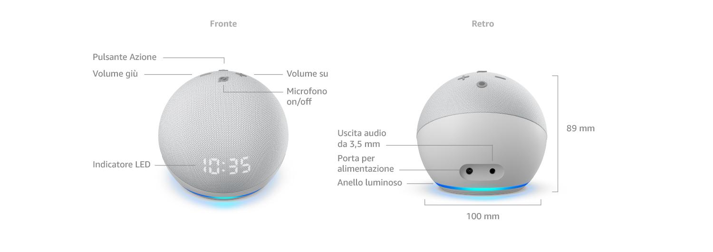 Echo Dot (4ª gen.) con orologio