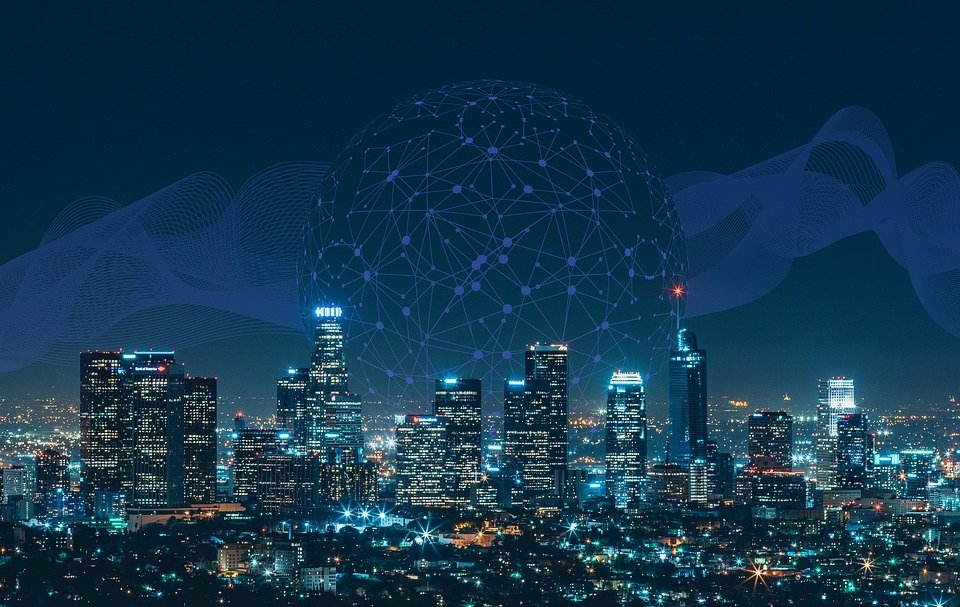 Smart, Città, Comunicazione, Rete, Skyline, Notte